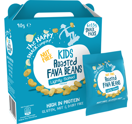 KIDS Roasted FAVA BEANS Lightly Salted 1 Case = 5 Cartons. (30 X 15g Packets)