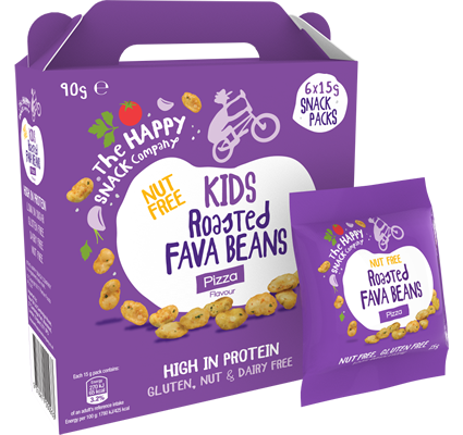 KIDS Roasted FAVA BEANS Pizza 1 Case = 5 Cartons. (30 X 15g Packets)