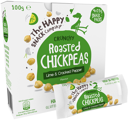 Roasted CHICKPEAS Lime & Cracked Pepper 1 Case = 5 Cartons. (20 X 25g Packets)